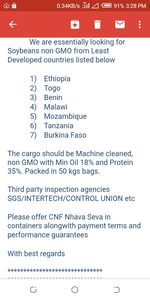 Non GMO soybeans from Benin republic to Singapore