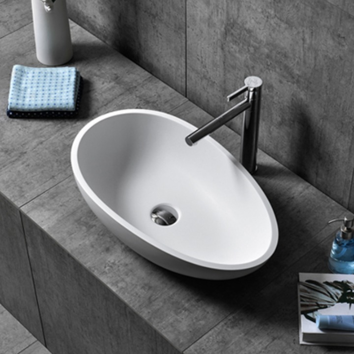 Solid surface bathroom wash sink artificial stone high-end basins manufacturer and supplier in china XA-A65