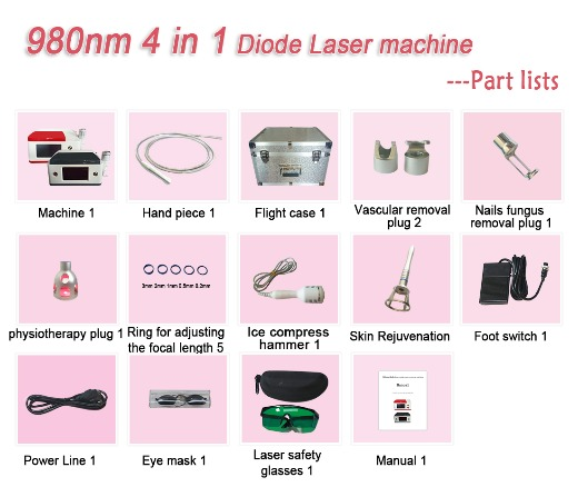 4 in 1 980nm Diode Laser machine-Exquisite red/ gray version