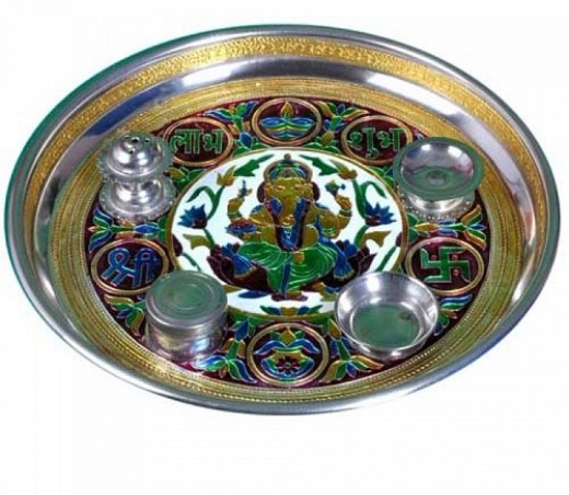 Ganesh Design Meenakari  Steel Pooja Dish