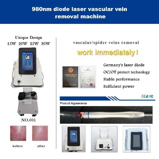 980nm diode laser spider vein removal machine- Erect version