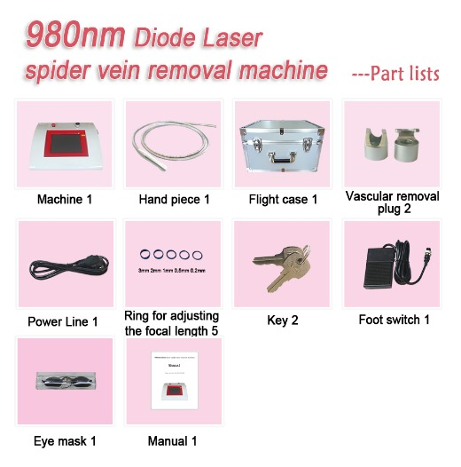 980nm diode laser spider vein removal machine-exquisite red/ gray version