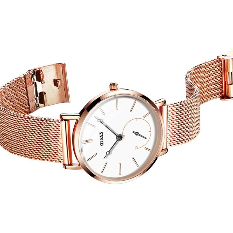 OLEVS Lady double dial net with quartz watch