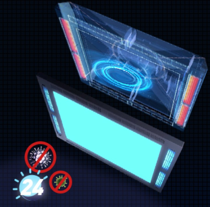 ANTISEPTIC AND ANTI-VIRUS AIR CLEANING LED PANEL LIGHT NANO ANTI-BACTERIAL AIR CLEANING LED PANEL / Guardian Storm Light