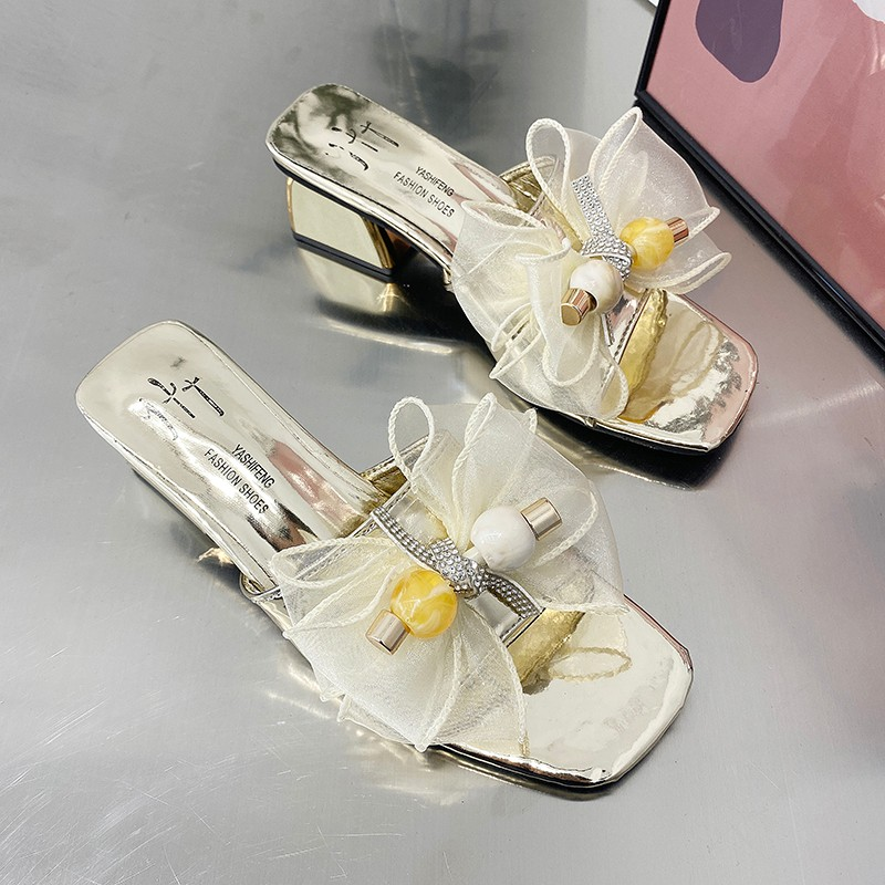 Rhinestone lace flower yarn butterfly rubber square heel thick heel slippers summer women's shoes leisure sandals heighten