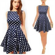 Causal dress | White Dotted Blue