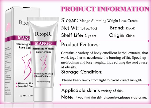 RtopR Mango Slimming Weight Lose Cream,40g,new ,wholesale