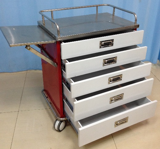 Nursing medicine trolley with five drawers