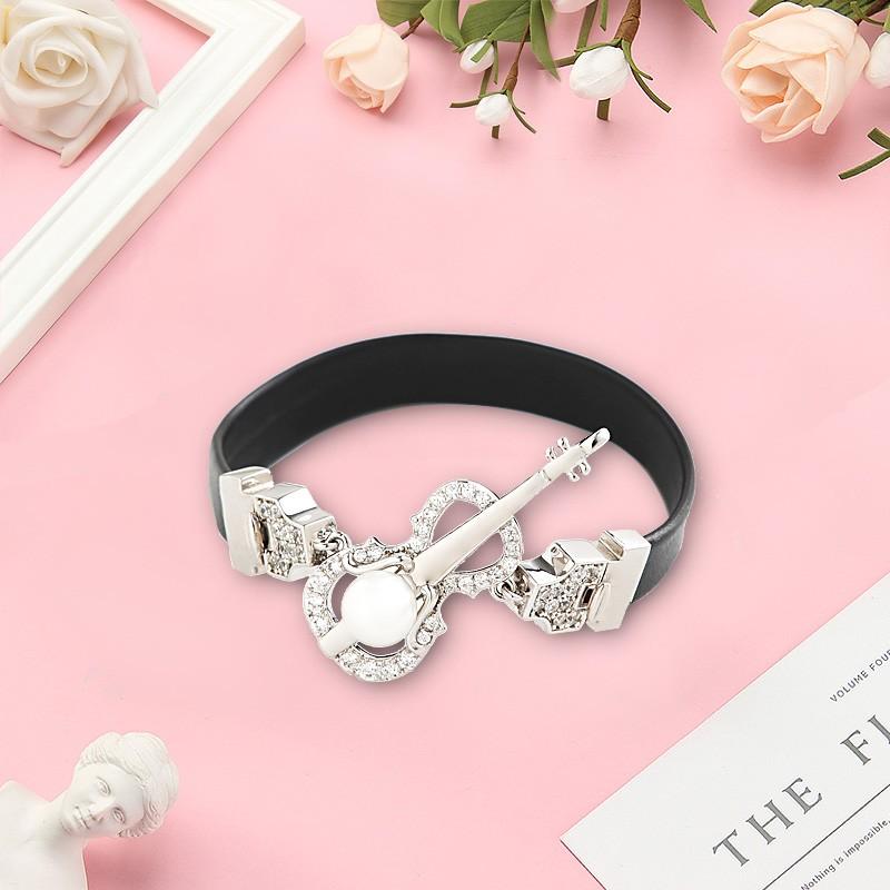 Violin series set with diamond leather bracelet