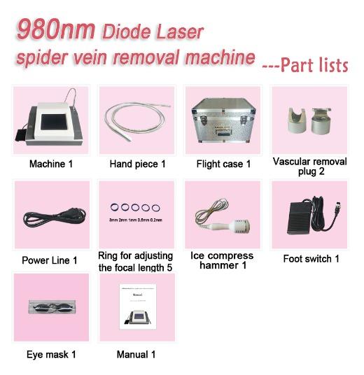 980nm diode laser spider vein removal machine- Gray version
