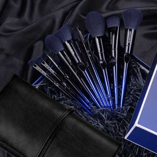 AGREEN - MAKE-UP FOR YOU 10 Makeup Brush Set Full Set Of Customizable LOGO&Colors -Blue
