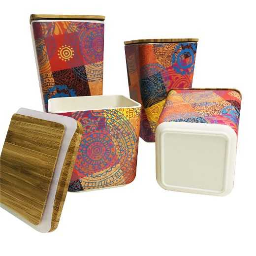 Bamboo reusable eco friendly canister box container with lid