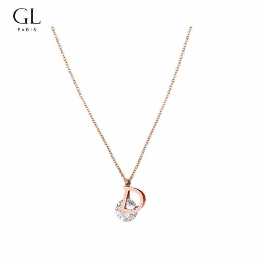 GL simple personality letter D necklace