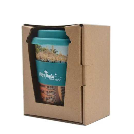 BPA free OEM Bamboo reusable with silicone lid and band coffee cup to go