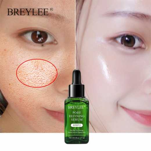 BREYLEE Shrink Pores Serum Pore Tightens Refining Moisturizing Essence Whitening Anti-aging Oil Control Facial Essence Skin Care