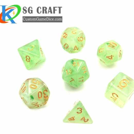Customized polyhedral light translucent resin dice