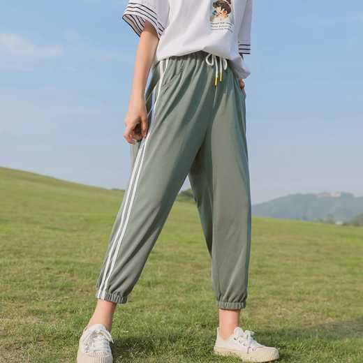 Summer thin girl nine minute Trousers 2020 new children mosquito prevention trousers summer dress western style facial mask trousers loose pants soft