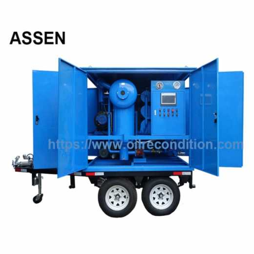 Trailer mounted High Efficiency Transformer Oil Filtration Machine,Mobile Transformer Oil Treatment Plant