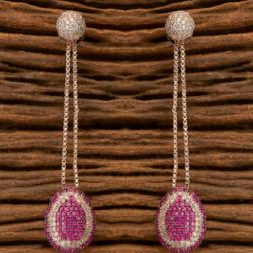 Cubic Zirconia Long Earrings with Black Rose Plating Ruby Color