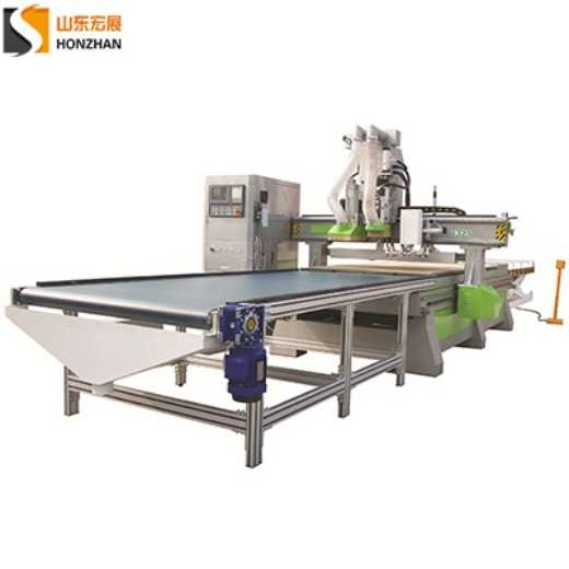 HONZHAN HZ-ATC1325PD Double Spindle Pneumatic ATC CNC Router with 5+4 Vertical Drilling Bank for Wood Furniture Making