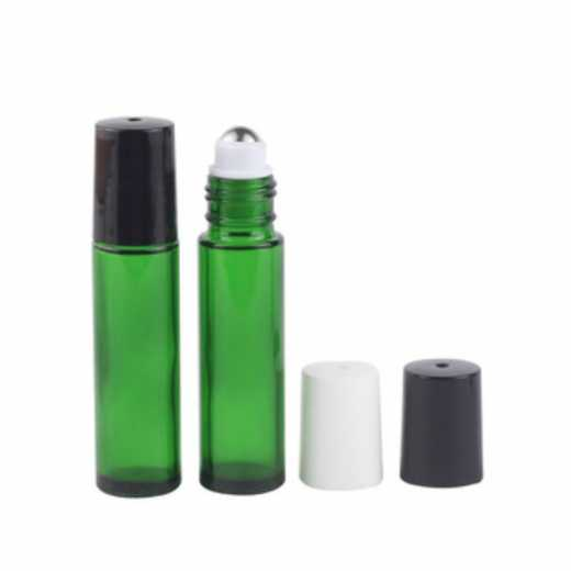 10 Ml Green Colored Perfume Roll On Glass Bottle