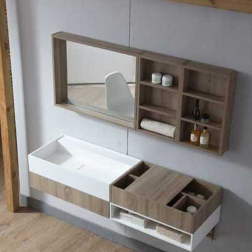 High-end solid surface bathroom cabinets with wash basin and mirror made in China professional manufacturer TW-1017