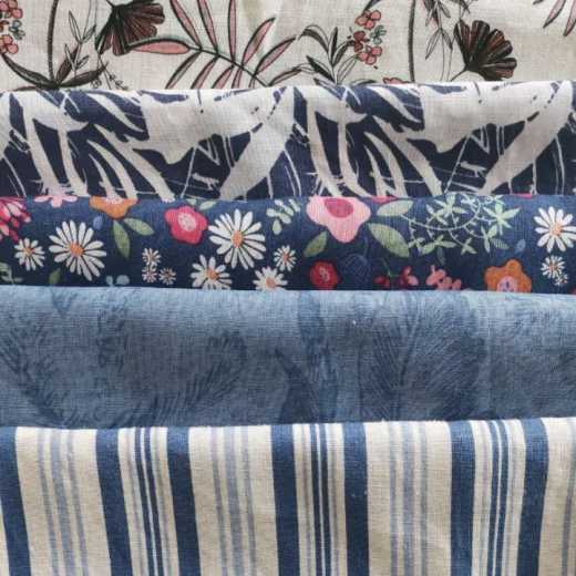printed linen cotton fabric for shirt