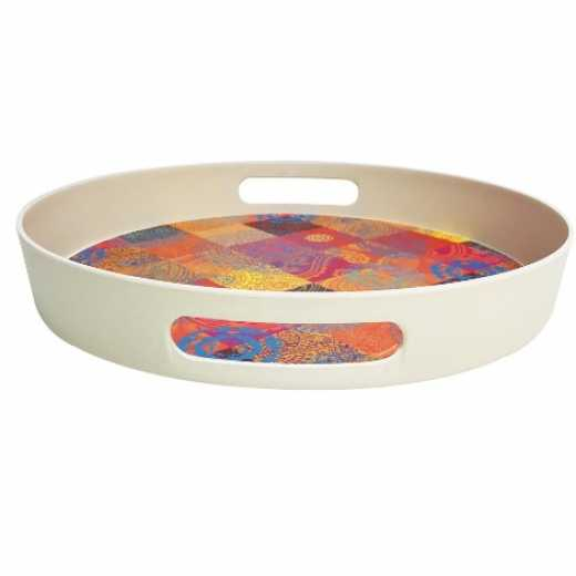 OEM Coloful Reusable Eco Bamboo service round tray bpa free