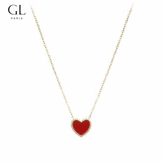 Red heart necklace with heart-shaped collarbone chain for women