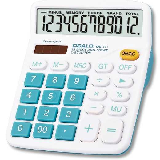 OSALO Promotional Electronic 12 Digit Solar Desktop Business Calculator with Dual Power Lcd Display Wholesale