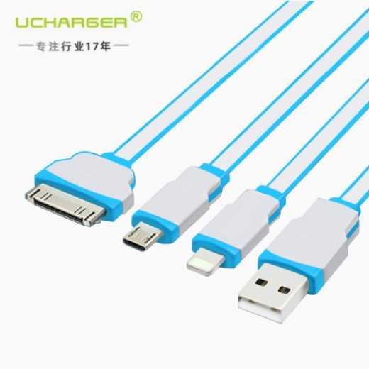 iphone4s one for three charging cable Apple iphone mobile phone data cable flat cable