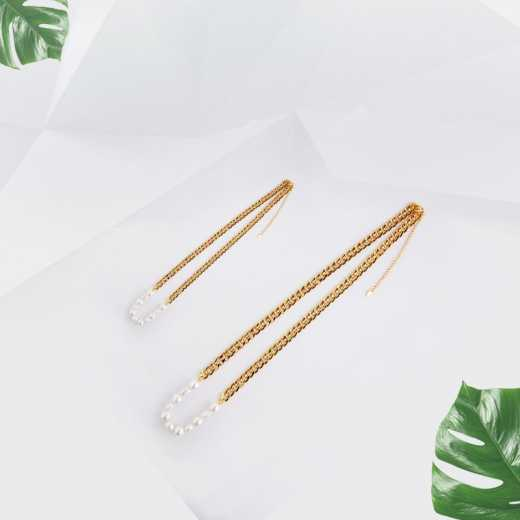 Chain shaped pearl Mosaic necklace long